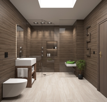 Photo of luxurious bathroom in Echuca with wood finish porcelain tiles