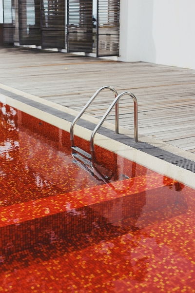Pool tiling job we completed in Echuca with red mosaic pool tiles